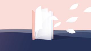 Illustratie van boek wat zich omvormt in bladeren