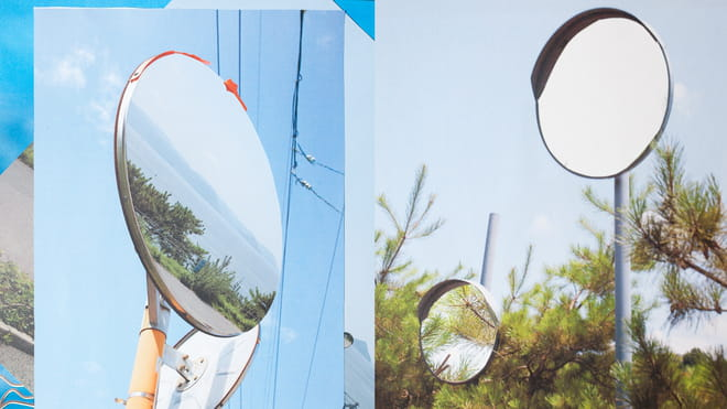 Collage met foto's van achteruitkijk spiegels