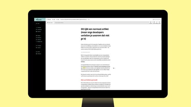 Een monitor met onze nieuwe editor: een groot wit vlak en in het midden de tekst van dit artikel