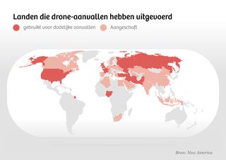 Kaart met de landen die drones hebben aangeschaft dan wel gebruikt in gevechten