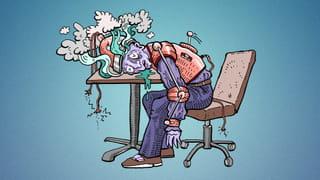 Een illustratie van een hybride tussen een student en een robot, volledig uitgebrand