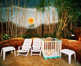 Baby ligt in box voor een afbeelding op de muur geschilderd van een bos met bamboe