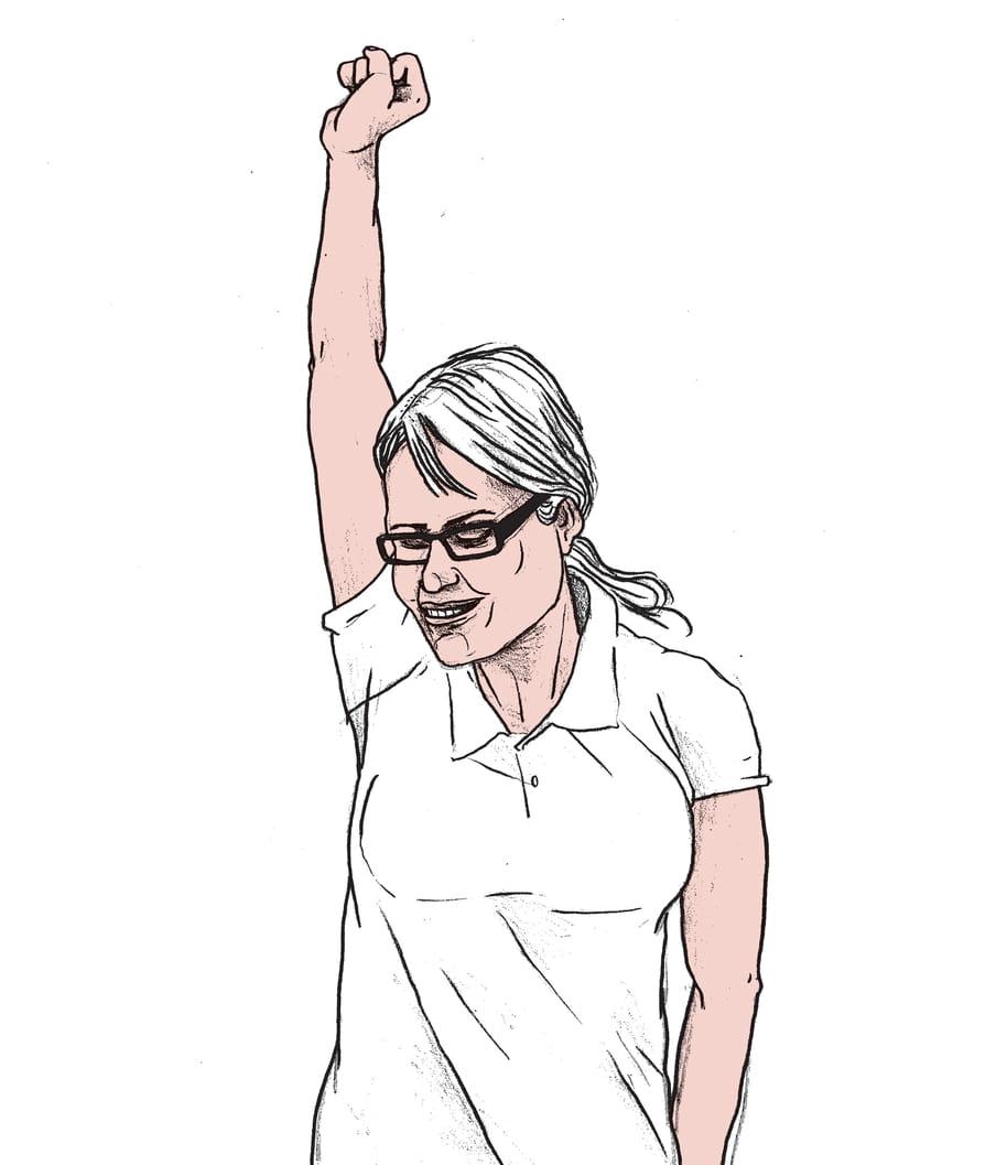 Een illustratie van een vrouw die strijdlustig haar hand in de lucht steekt getekend door Gijs Kast.