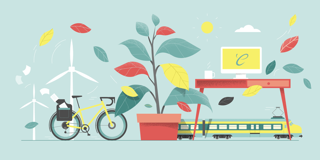 Illustratie van een tafereel met windmolens, fiets, plant, bureau en een trein met bladeren die erdoor heen dwarrelen.