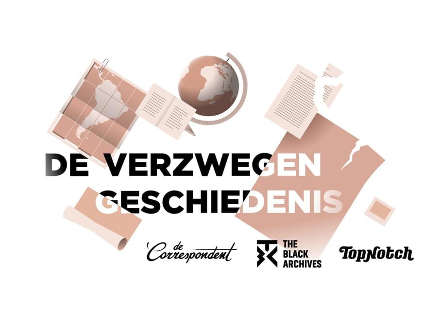 Logo van de verwegen geschiedenis, met de logo's van De Correspondent, The Black Archives en Topnotch