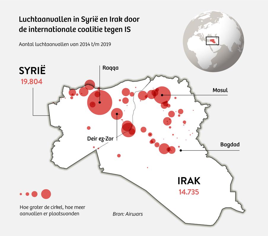 Kaart die laat zien dat er 19804 luchtaanvallen in Syrië en 14735 luchtaanvallen in Irak werden uitgevoerd door de internationale coalitie tegen IS.