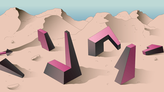 Illustration of 3D puzzle pieces scattered across a mountain landscape