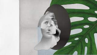Collage van stukjes van verschillende gezichten met daar achter grijs- en blauwvlakken en een groen blad.