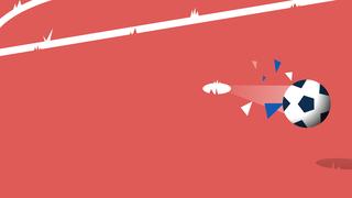 Een illustratie van een strafschop waarbij de bal richting doel vliegt.
