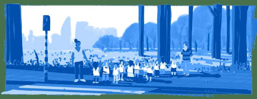 Illustratie van groep kinderen die wachten om over te steken