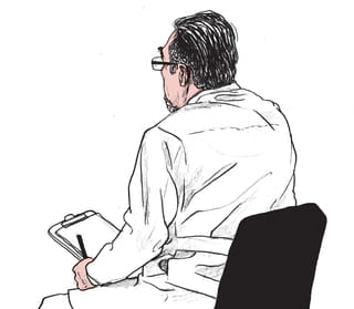 Een tekening van een oudere man met bril in een doktersjas schuin van achteren zittend op een stoel met in zijn hand een notitieblok en pen. De illustratie is gemaakt door Gijs Kast.