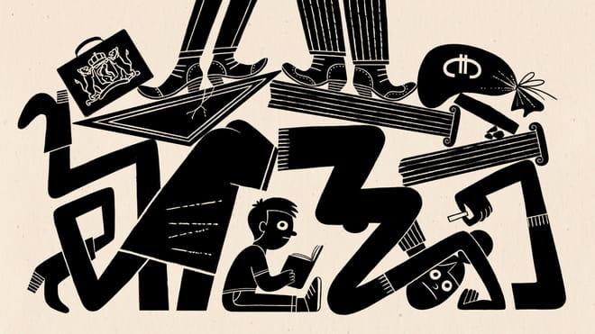 Illustratie van Esther Aarts zwart wit. Politiek en Kapitaal staan op het instortende onderwijs systeem.