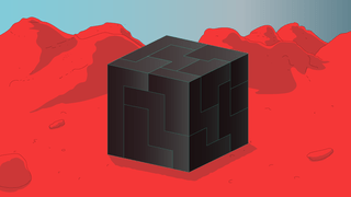 Illustration of a volumetric puzzle, standing on a mountainous landscape.