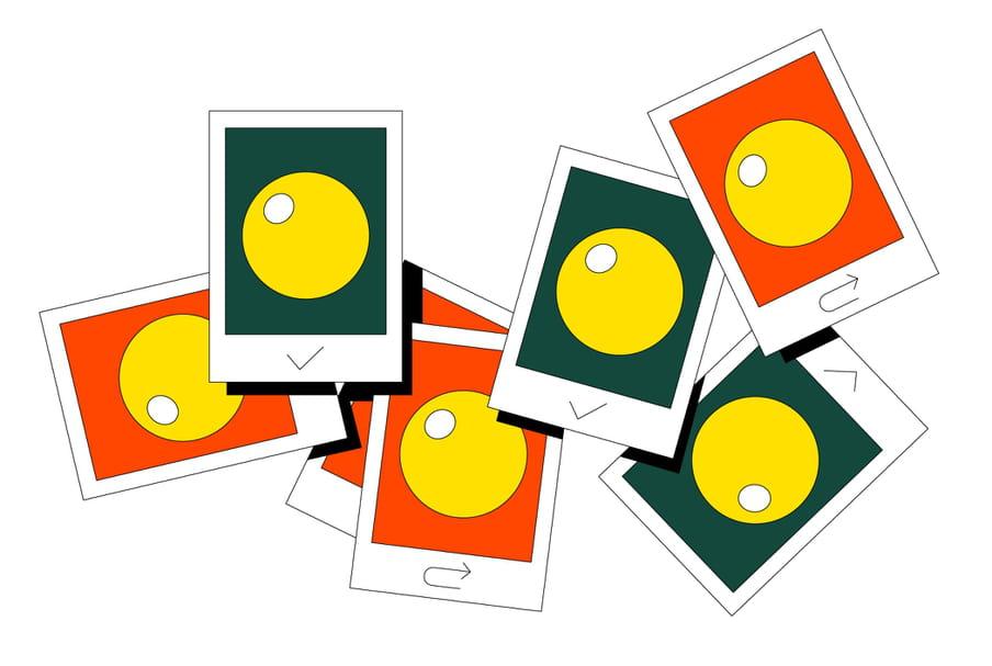 Illustratie van Roel van Eekelen van grafisch getekende pasfoto's van gele bolletjes op rode en groene ondergrond. De groene zijn goedgekeurd met een vinkje, de rode zijn afgekeurd.