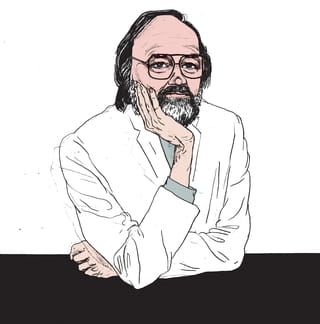Een portrettekening van een dokter die aan een tafel zit, armen gekruist terwijl een hand zijn hoofd ondersteund. Hij heeft een bril en baardje en kijkt de kijker aan met een rustige blik. Deze illustratie is van Gijs Kast.