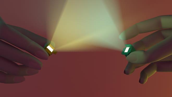 3D render van twee handen met lichtgevende doosjes die naar elkaar wijzen